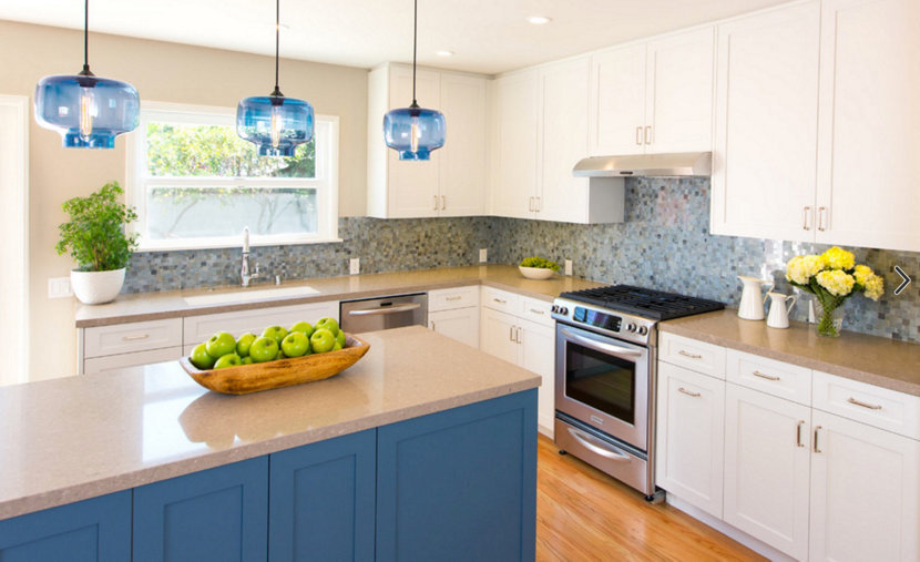 Blue Glass Modern Lighting For Kitchens Pairs Well With Sunny, Blue Skies