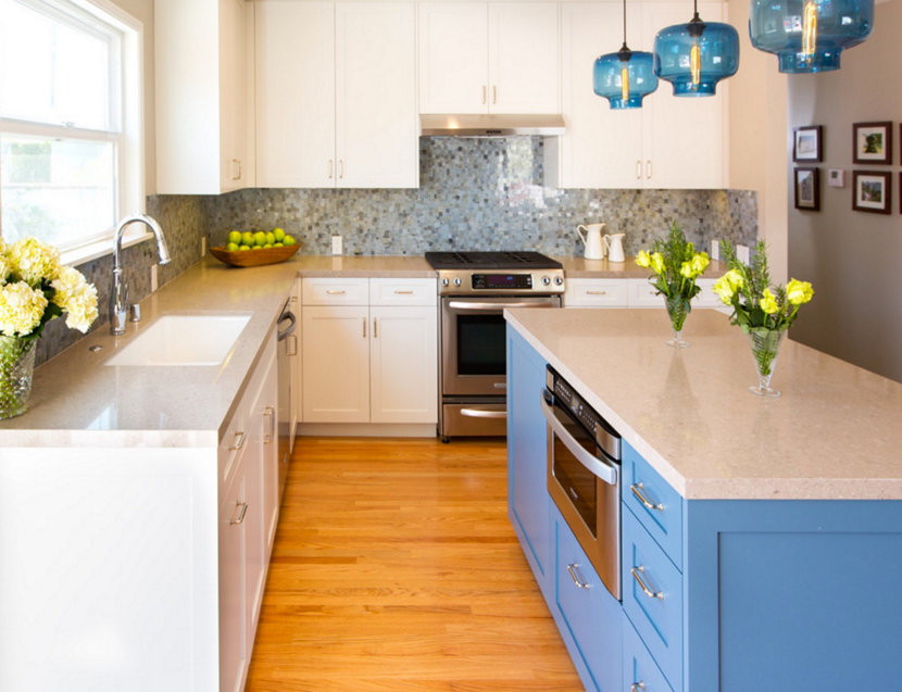 blue glass modern lighting for kitchens