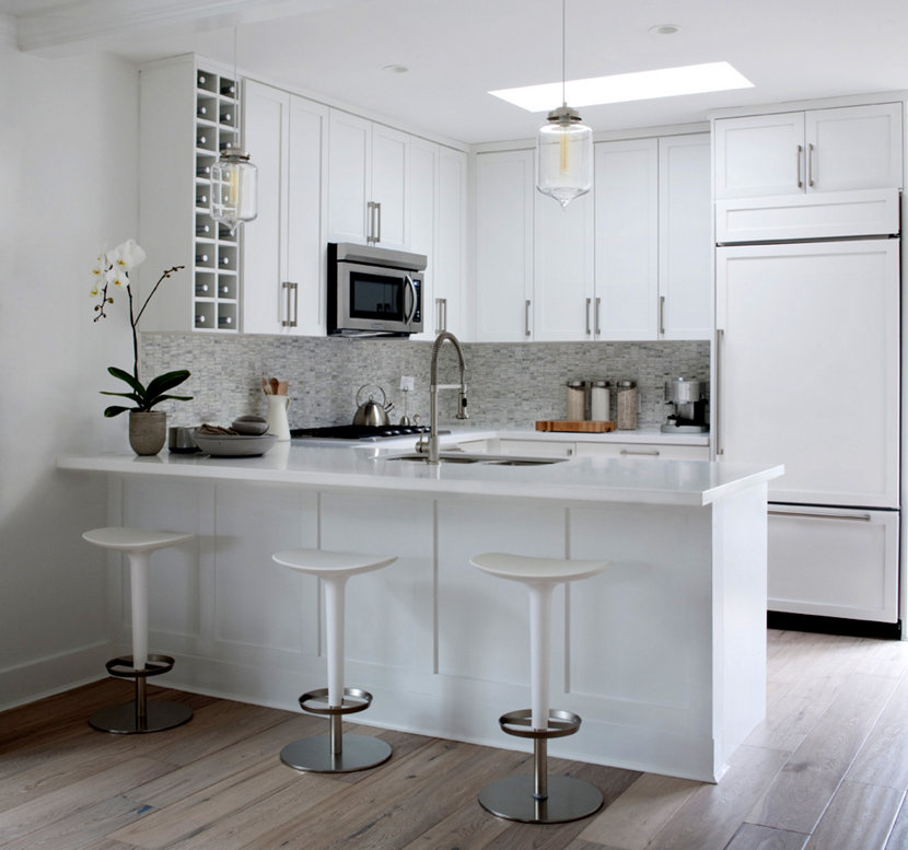 2 white kitchens with contemporary crystal pendant lighting aloadofball
