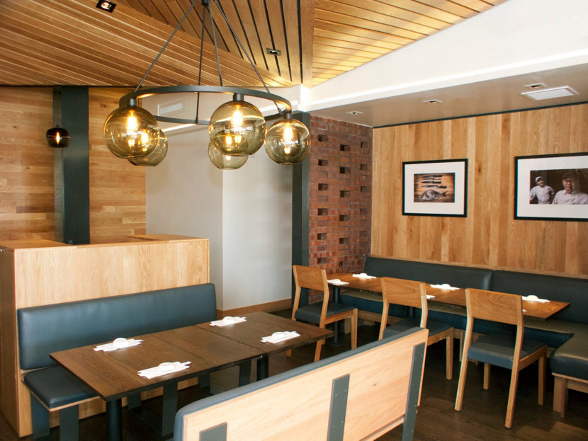 Sugarfish La Brea Featuring Our Solitaire Pendants in Smoke Glass